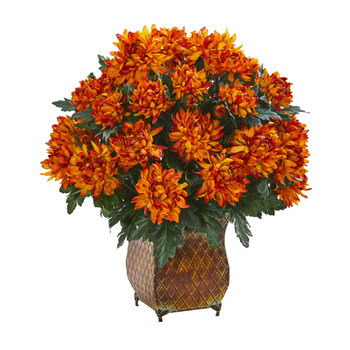 Spider Mum Artificial Plant in Metal Planter - SKU #6467