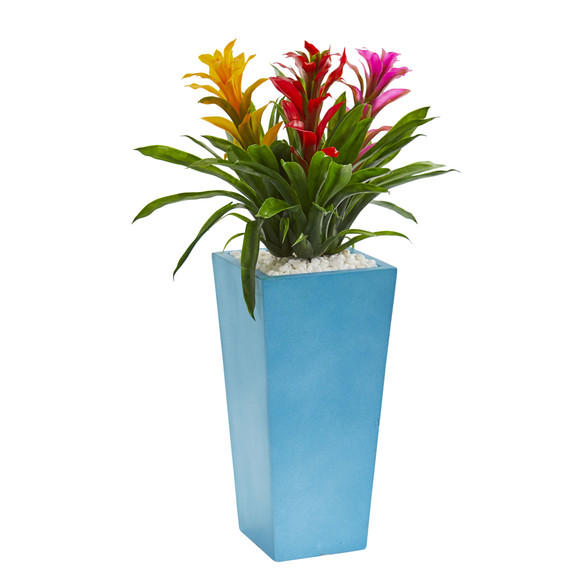 26 Triple Bromeliad Artificial Plant in Turquoise Tower Vase - SKU #6469 - 1