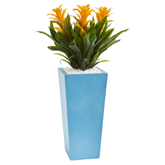 26 Triple Bromeliad Artificial Plant in Turquoise Tower Vase - SKU #6469