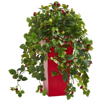30 Rasberry Artificial Plant in Red Tower Planter - SKU #6474