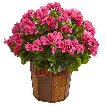 Geranium Artificial Plant in Decorative Planter - SKU #6475-PK