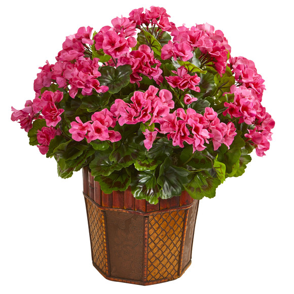 Geranium Artificial Plant in Decorative Planter - SKU #6475 - 1
