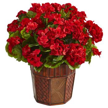 Geranium Artificial Plant in Decorative Planter - SKU #6475