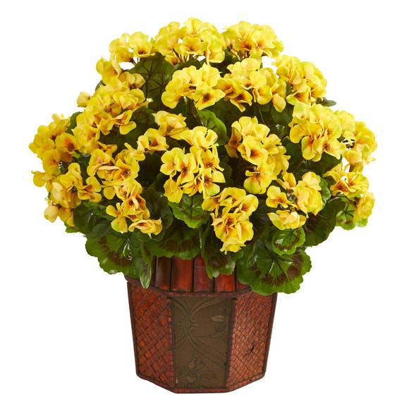 Geranium Artificial Plant in Decorative Planter - SKU #6475 - 2