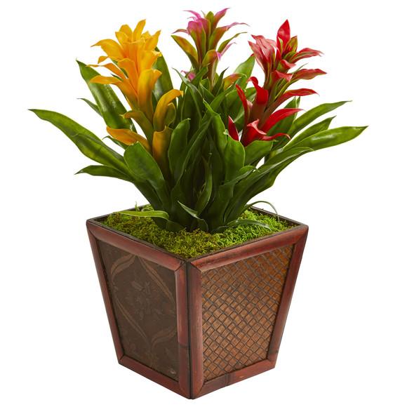Triple Bromeliad Artificial Plant in Decorative Planter - SKU #6476 - 3