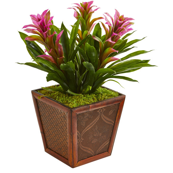 Triple Bromeliad Artificial Plant in Decorative Planter - SKU #6476 - 1