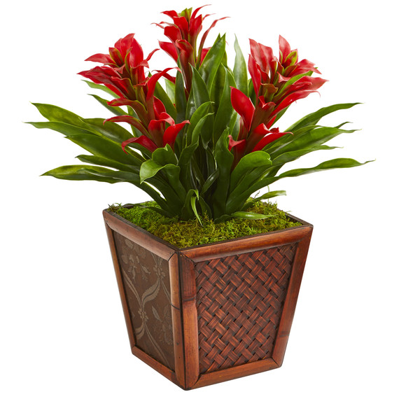 Triple Bromeliad Artificial Plant in Decorative Planter - SKU #6476