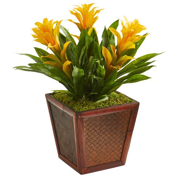 Triple Bromeliad Artificial Plant in Decorative Planter - SKU #6476 - 2