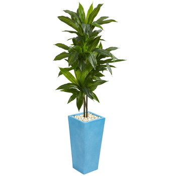 5 Dracaena Artificial Plant in Turquoise Tower Vase - SKU #6477