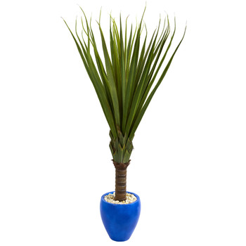 5.5 Spiky Agave Artificial Plant in Blue Oval Planter - SKU #6479