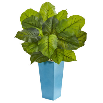 3 Large Leaf Philodendron Artificial Plant in Turquoise Planter Real Touch - SKU #6482