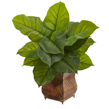 Large Leaf Philodendron Artificial Plant in Metal Planter Real Touch - SKU #6484