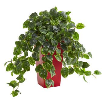 Pothos Artificial Plant in Red Planter UV Resistant Indoor/Outdoor - SKU #6485