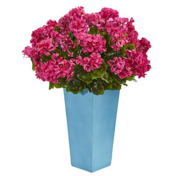 Geranium Artificial Plant in Turquoise Planter UV Resistant Indoor/Outdoor - SKU #6486