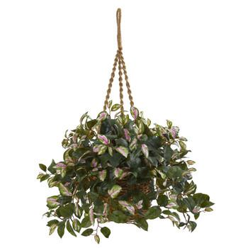 Hoya Artificial Plant Hanging Basket - SKU #6490