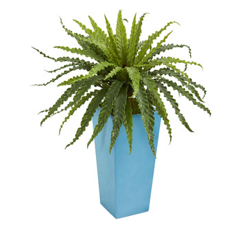 Asplenium Artificial Plant in Turquoise Planter - SKU #6492