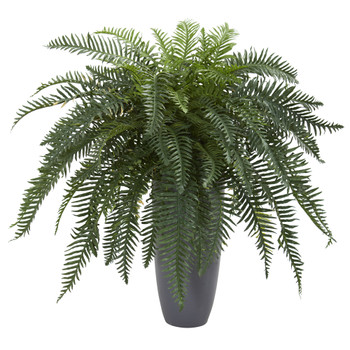 River Fern Artificial Plant in Cylinder Planter - SKU #6495
