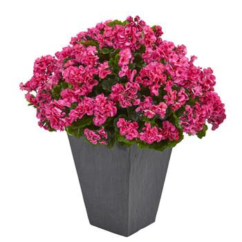 Geranium Artificial Plant in Slate Plater UV Resistant Indoor/Outdoor - SKU #6499