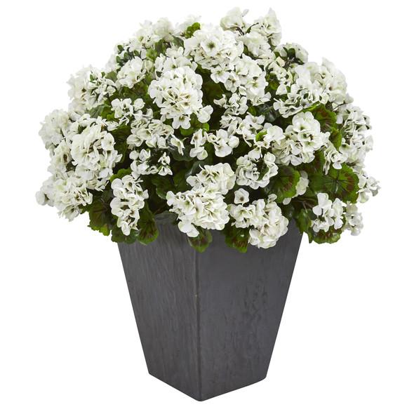 Geranium Artificial Plant in Slate Plater UV Resistant Indoor/Outdoor - SKU #6499 - 1