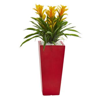 Triple Bromeliad Artificial Plant in Red Planter - SKU #6503-YL