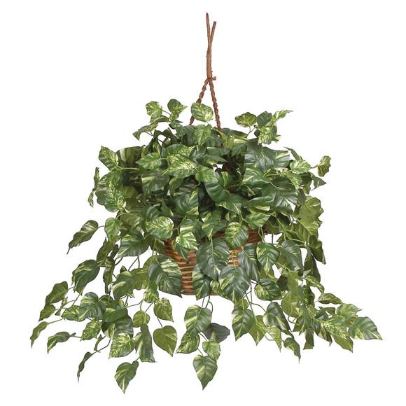 Pothos Hanging Basket Silk Plant - SKU #6517