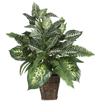 Mixed Greens Zebra w/Wicker Silk Plant - SKU #6528
