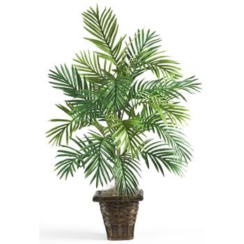 Areca Palm w/Wicker Basket Silk Plant - SKU #6536