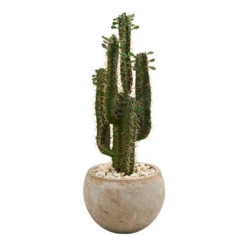 2.5 Cactus Artificial Plant in Bowl Planter - SKU #6546