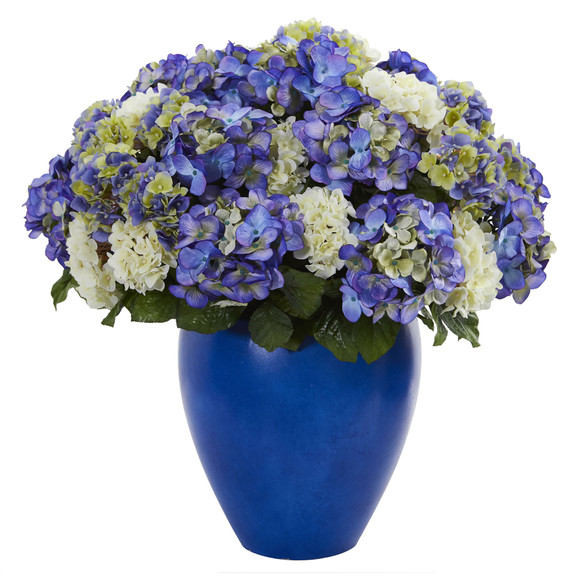 Hydrangea Artificial Plant in Blue Planter - SKU #6547