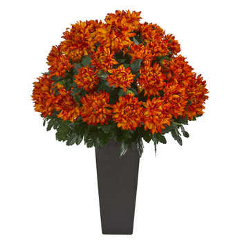 27 Spider Mum Artificial Plant in Black Planter - SKU #6548
