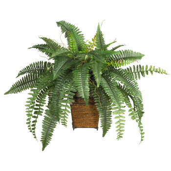 Boston Fern w/Wood Wicker Basket Silk Plant - SKU #6549
