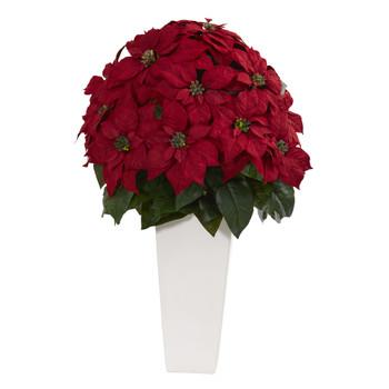 32 Poinsettia Artificial Plant in White Planter - SKU #6551
