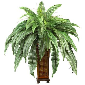 Boston Fern w/Decorative Wood Vase Silk Plant - SKU #6553
