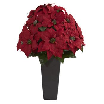 27 Poinsettia Artificial Plant in Black Planter - SKU #6557