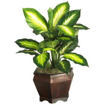Golden Dieffenbachia w/Wood Vase Silk Plnat - SKU #6592-0507