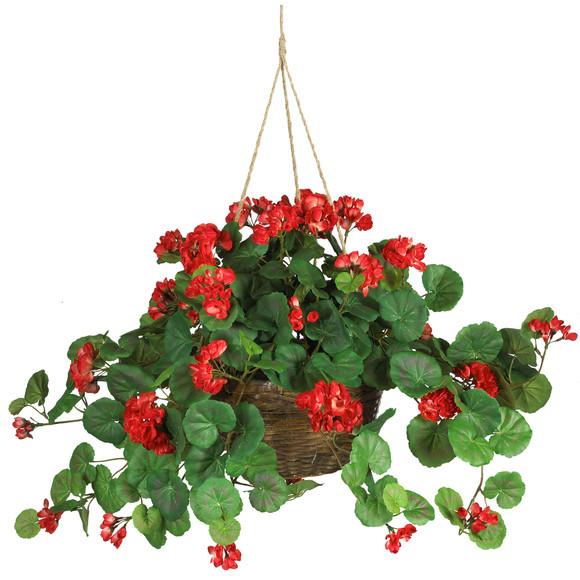 Geranium Hanging Basket Silk Plant - SKU #6609-RD
