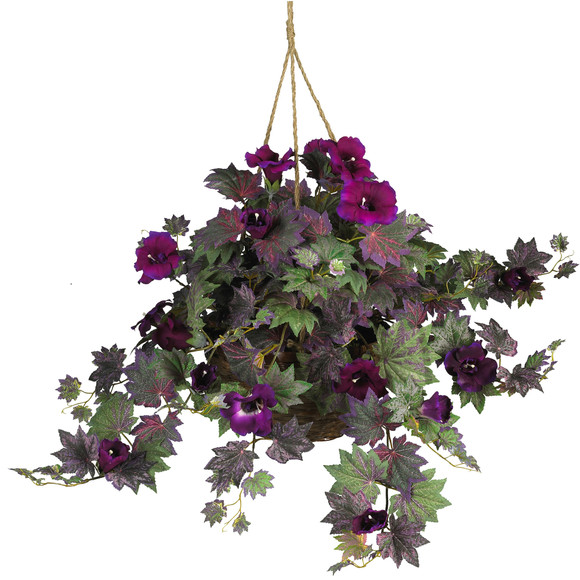 Morning Glory Hanging Basket Silk Plant - SKU #6610
