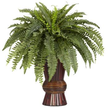 Boston Fern w/Bamboo Vase Silk Plant - SKU #6628
