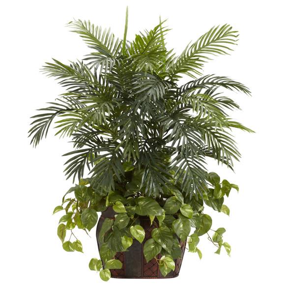3.5 Double Areca w/Vase Pothos Silk Plant - SKU #6633