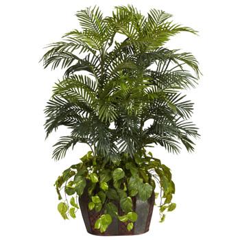 4.5 Double Areca w/Vase Pothos Silk Plant - SKU #6634