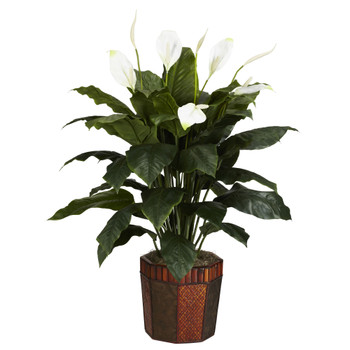 Spathyfillum w/Vase Silk Plant - SKU #6638
