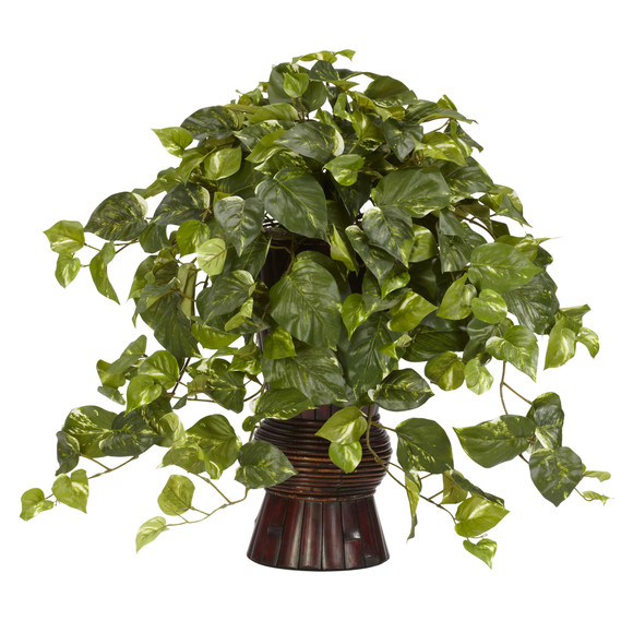 Pothos w/Bamboo Vase Silk Plant - SKU #6646