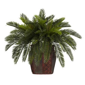 Double Cycas w/Vase Silk Plant - SKU #6658
