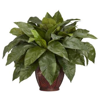 Birdsnest Fern w/Decorative Vase Silk Plant - SKU #6659