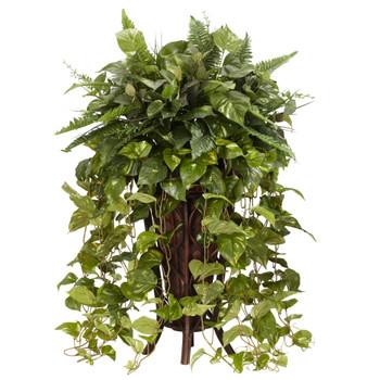 Vining Mixed Greens w/Decorative Stand Silk Plant - SKU #6674