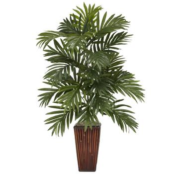 Areca Palm w/Bamboo Vase Silk Plant - SKU #6675