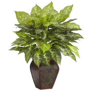 Dieffenbachia w/Decorative Vase Silk Plant - SKU #6676