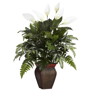 Mixed Greens w/Spathyfillum Decorative Vase Silk Plant - SKU #6677