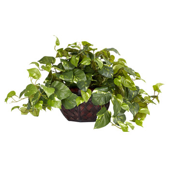 Pothos w/Decorative Vase Silk Plant Same as 6635 - SKU #6681