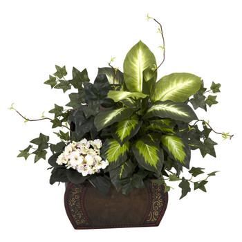 African Violet Dieffenbachia Ivy w/Chest Silk Plant - SKU #6684
